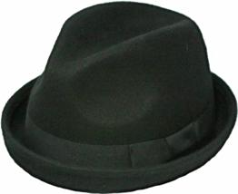 Henschel Wool Felt High Roller Fedora Rolled Brim Grosgrain Band Eith Bow Black - $53.00