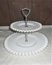 Fenton 2 Tier Tray Silver Crest Milk Glass Crimped Edge White - $22.07