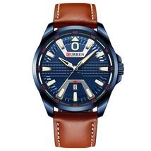 Curren Men's Leather Quartz Wrist Watch 8379 (Brown & Blue) - $31.00