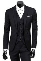 Mens Three Piece Blue Lapel Collar Grey Tweed Slimfit Black Suit image 1