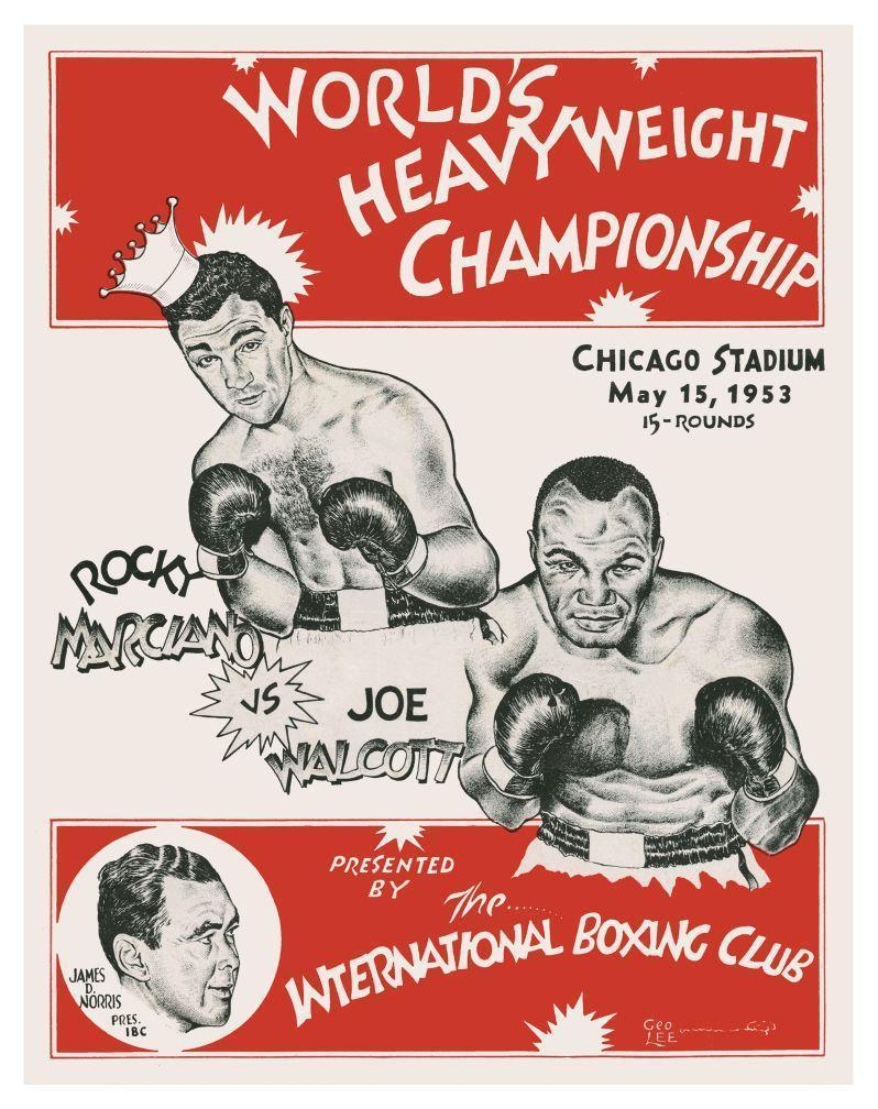 Primary image for ROCKY MARCIANO vs JOE WALCOTT 8X10 PHOTO BOXING POSTER PICTURE