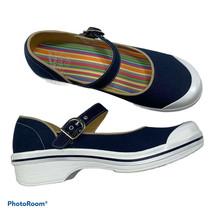 New DANSKO Vegan Valerie Mary Jane Shoes 41 10.5-11 Navy Blue Canvas Buc... - $99.00