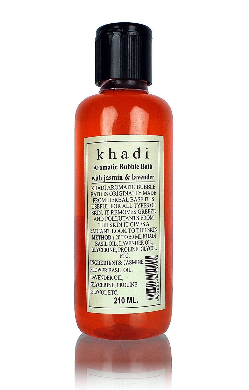 KHADI BUBBLE BATH NATURAL HERBAL AROMATIC WITH JASMINE & LAVENDER 210 ML image 1
