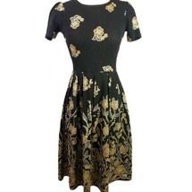 Lularoe Elegant Amelia Dress Black Gold Floral Textured Stretch Fit and Flare XS - $80.95