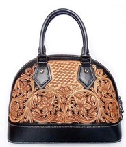 Western Floral Tooled Italian Leather Dome Satchel Handbag Purse Shoulde... - $189.95