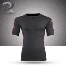 Black men fitness O-Collar running tights short sleeve compression t-shi... - $17.99