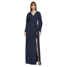 BCBG MAXAZRIA Navy Blue Koko Georgette Draped Sleeve Ruffle Faux Wrap Go... - $159.99