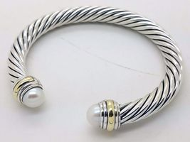 David Yurman Sterling Silver 7mm Pearl And 14K Gold Cable Cuff Bracelet - $424.71