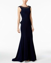 Xscape Navy Womens Bead-Embellished Mermaid Gown,6, 2612-3 - $70.78