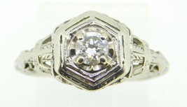 Art Deco 14k White Gold 1/4ct Genuine Natural Diamond Filigree Ring (#J4290) - $600.00