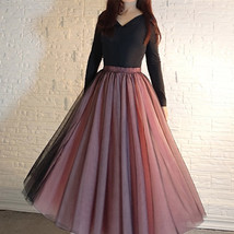 Women Black Pink Long Tutu Skirt Outfit High Waist Tulle Party Skirt Plus Size image 3