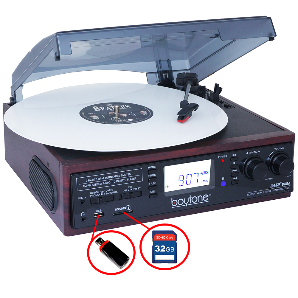 BOYTONE BT-19DJM-C 3-Speed Stereo Turntable - 33/45/78 RPM with AM-FM Radio