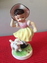 Vintage 50s ceramic figurine of Little Girl in a bonnet and her Sheep