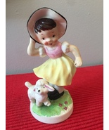 Vintage 50s ceramic figurine of Little Girl in a bonnet and her Sheep - $15.00