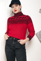Knit turtleneck jumper - 80s vintage sweater - $34.21