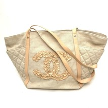 AUTHENTIC CHANEL CC Flower Shoulder Bag Tote Bag Beige Canvas x Leather - $1,168.47 CAD