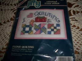 Jiffy Counted Cross Stitch Kit 16611~I Love Quilting - $6.00