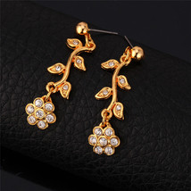 U7 Wedding Earrings Trendy Gold Color Rhinestone Fashion Jewelry Plant F... - $21.77