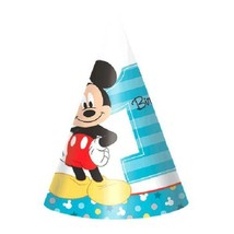 Mickey Mouse Fun To Be One 8 Cone Hats 1st Birthday Party - $5.22