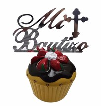 "3 pcs Mi Bautizo signs silver mirror like acrylic 5"" x 2.5"" cake top pick - $8.90"
