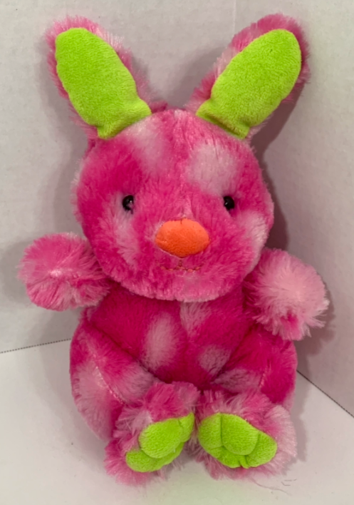 Primary image for Animal Adventure hot Pink Bunny Rabbit Plush green Easter stuffed animal 2016