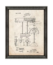 Fluorescent Desk Lamp Patent Print Old Look with Black Wood Frame - $24.95+