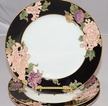 Fitz & Floyd Cloisonne Peony * 3 SALAD PLATES * Black,  Mint Condition! - $39.95