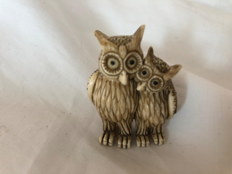 Set of 4 Ceramic Vintage Owl Figurines Tiny Family Set