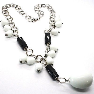 Silver 925 Necklace, Onyx Black, Agate White Drop, Waterfall Pendant