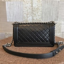 AUTHENTIC CHANEL BLACK QUILTED LAMBSKIN MEDIUM BOY FLAP BAG RHW image 2
