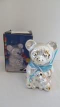 Silver Plated Teddy Family Bank NIB - $8.59