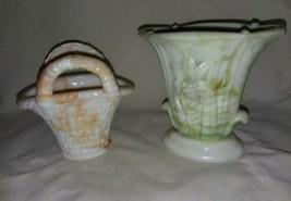 Vintage Slag Akro Agate 2 Handle Basket Orange White USA Daffodil Vase Green - $18.99
