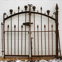 """4 Section 81""""x36"""" Gate Post Antique Vintage Iron Picket Ball Spear Fence... - $1,709.99"""