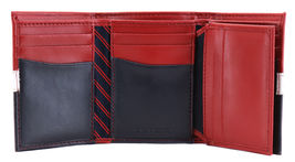 Tommy Hilfiger Men's Premium Leather Trifold Wallet Rfid Red Navy 31TL110022 image 6