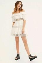 Free People Mixed Emotions Mini Dress Off-White Ivory Crochet Trim Size 8 NWT - $74.79