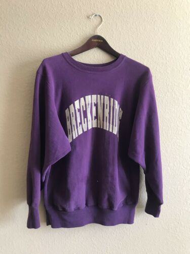 VTG Champion Reverse Weave Sweatshirt Breckenridge Colorado XL Large Purple