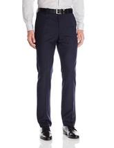 New Perry Ellis Men's Navy Blue 33W 32L Slim-Fit Dress Flat Front Pant 5761-3 - $27.76