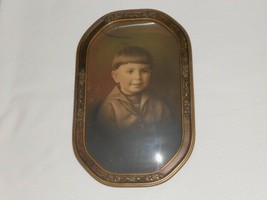 Antique Curved Bubble Glass Picture Boy Sailor Suit Ornate Wood Frame - $1.531,87 MXN