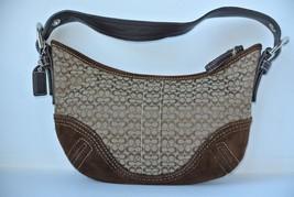 Coach Brown Signature C Fabric Leather Hobo Handbag Purse H052-2154 NICE!! - $37.61