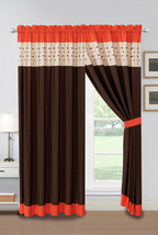 4-Pc Jasper Embroidery Square Stripe Curtain Set Orange Brown Ivory Drape Sheer - $40.89