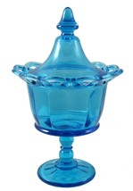 """Imperial Vintage Blue Glass Lidded Jar Footed Open Lace Edge 10"""" Mid Cen... - $19.80"""