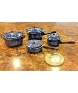 ENAMELWARE SPATTERWARE Dollhouse Miniature PAN SET Blue Metal Realistic! - $10.92