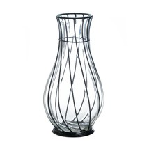 Glass and Iron Scrollwork Vase Tabletop Decor - $20.48