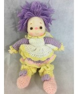 Ice Cream Face Baby Doll Hand Crochet Dress Purple Yarn Hair Plush Body ... - $21.55
