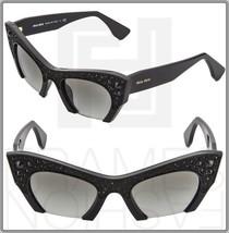 Miu Miu Rasoir 02Q Rock Sunglasses Cat Eye Shiny Black Crystal MU02QS Gradient - $254.43
