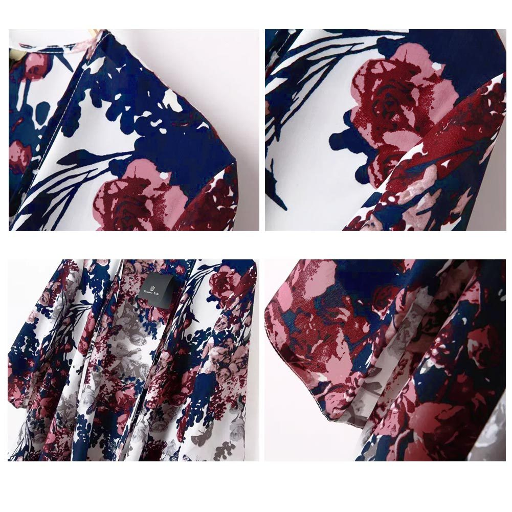 New Arrival Floral Print Women Blouses Open Front Batwing 3/4 Sleeve Irregular H