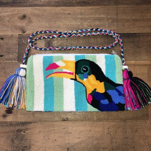 Primary image for Authentic 100% Wayuu Crossbody Clutch Bag Medium Size Summer Toucan Print SS20