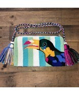 Authentic 100% Wayuu Crossbody Clutch Bag Medium Size Summer Toucan Prin... - £36.70 GBP