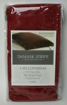 New Charter Club Damask Stripe Crimson Red Euro Pillow Sham 500tc Pima Cotton - $15.84