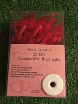 New Set Of 20 Valentine's Day Red Hearts LED Battery Operated - $16.82